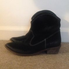 MIA Black Suede Cowboy Ankle Boots Excellent preowned condition. Black suede bootie with low, wood-look heel. MIA Shoes Ankle Boots & Booties