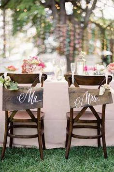 Vintage Country Garden Wedding ~ Mr. and Mrs. chair backs