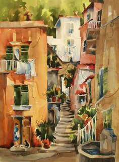 "The Gift-Capri by Jinnie May Watercolor ~ 30"" x 22"""