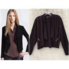 French Laundry faux suede drape jacket blazer SUPER chic brand new with tags French Laundry faux suede brown drape jacket. Cardigan / blazer open front style. Gold hardware in the form of zippers on each side. Unbelievably comfortable, and luxurious, looks and feels almost exactly like real suede! Stock photo isn't the exact jacket, but the style is the same minus the zippers, so I posted it for a better idea of what the jacket looks like when worn. Size extra large but looks just as good on…
