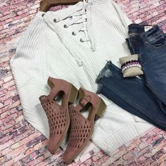 This slight hi-lo sweater is super adorable and cozy!❤ {Lace up Sweater $39.75||Fray Edged Jeans 49.50||Lattice Booties $45} Comment below with PayPal to purchase and ship or comment for 24 hour hold #repurposeboutique#shoprepurpose#boutiquelove#style#trendy#musthaves#obsessed#fashion