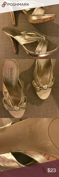 Guess Shoes with 3 1/2 heels Gold vinyl fabric on Guess brand Shoes with 3.5 inch heels. No wear or tear on shoes. Great paired with dress, jeans or swimsuits. Enjoy! Guess by Marciano Shoes Heels
