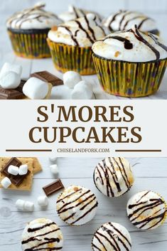 If two of your favorites sweets are cupcakes and s'mores, then the first thing you should be doing is making these s'mores cupcakes! Tolle Desserts, Köstliche Desserts, Great Desserts, Delicious Desserts, Cupcake Recipes, Baking Recipes, Cookie Recipes, Cupcake Cakes, Dessert Recipes