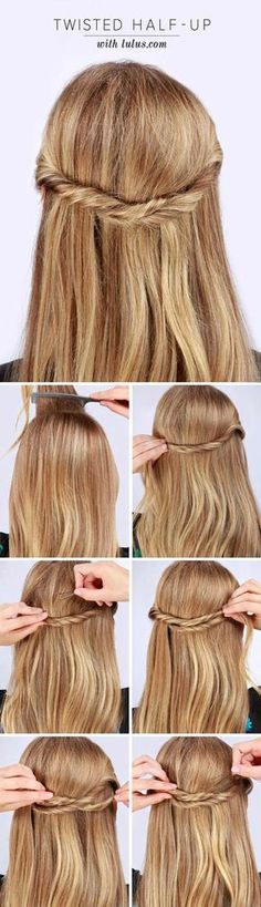 Lulus how-to: twisted half-up hair tutorial hair hair, half Up Hairdos, Down Hairstyles, Trendy Hairstyles, Straight Hairstyles, Brunette Hairstyles, School Hairstyles, Everyday Hairstyles, Celebrity Hairstyles, Bride Hairstyles