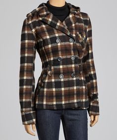 Take a look at this Brown & Black Plaid Hooded Peacoat by Yoki on #zulily today!