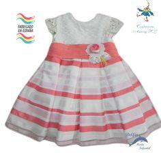 Vestido de bebe ceremonia ANAVIG organza rayas coral