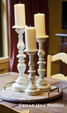 Three Candlesticks...Three Ways: See these candle sticks go from dated to fresh with chalky paint and wax. www.cedarhillfarmhouse.com