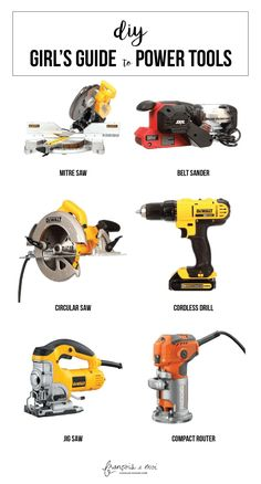 DIY Girl's Guide to Power Tools What to build furniture and accessories for your home? Learn the basics of power tools here.What to build furniture and accessories for your home? Learn the basics of power tools here. Woodworking Power Tools, Popular Woodworking, Woodworking Jigs, Woodworking Projects, Diy Projects, Woodworking Furniture, Woodworking Tools For Beginners, Essential Woodworking Tools, Youtube Woodworking