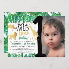 Safari Invitations, Wild One Birthday Invitations, Wild One Birthday Party, 1st Birthday Photos, Photo Invitations, Boy First Birthday, 1st Birthday Parties, Birthday Ideas, Birthday Gifts