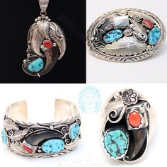 Bear Claw Set Turkoi's Bear Claw Set includes all consecutive listings in our Boutique. The pendant necklace,rings,bracelet and belt buckle are all hand crafted with sterling silver and authentic coal mines gemstones. (Turquoise and Coral, Signed Lucky) native american, signed  Jewelry