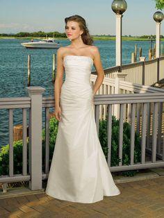 Sheath Dress Straight Neckline Simple Wedding Dress with DelicatePleats Floor Length Taffeta Dress