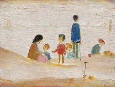 Laurence Stephen Lowry, R. Beach Scene signed and dated 'L. LOWRY (lower right) oil on panel 7 ¼ x 9 ½ in. x cm. Cleveland Art, Seaside Art, St Anne, Eye Painting, English Artists, Bond Street, Male Figure, Beach Scenes, Old Master