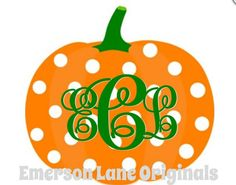 Polkadot Pumpkin Monogram   Iron On - cute for Halloween, Thanksgiving or just fall in general!