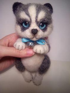 Husky puppy felted wool miniature