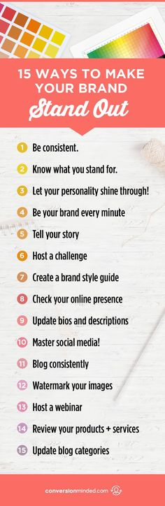 15 ways to make your brand stand out. Branding tips for business owners, build your brand. Business Branding, Business Marketing, Business Tips, Online Business, Content Marketing, Food Business Ideas, Inbound Marketing, Marketing Tools, Business Opportunities
