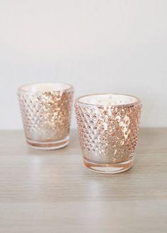 Mercury Glass Candle Holders, Votive Candle Holders, Votive Candles, Rose Gold Table, Gold Wedding Decorations, Table Decorations, Candle Centerpieces, Boho Wedding, Dream Wedding