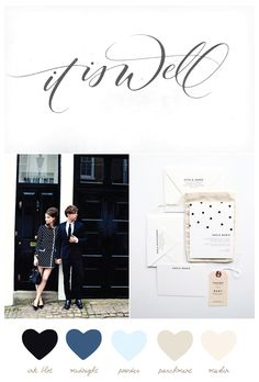 Color Palette: Ink Blot + Parchment // The Sweetest Occasion. just love the collage of photos.