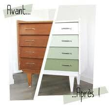 Minigougue Before After The vintage dresser Minigougue Avant Apr s La commode vintage Minigougue Before After The vintage dresser Refurbished Furniture, Colorful Furniture, Repurposed Furniture, Furniture Makeover, Vintage Furniture, Cool Furniture, Painted Furniture, Furniture Design, Bedroom Furniture