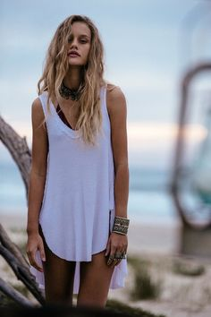 Cloudy Bay | Free People Blog #freepeople Wavy beachy hair, detailed basics with bold jewelry