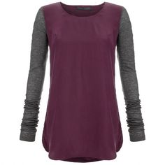 Victoria Beckham Denim Plum Contrast Silk Top ($79) ❤ liked on Polyvore featuring tops, victoria beckham, victoria beckham tops, silk top, plum top and purple top