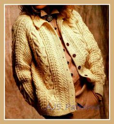 PDF Knitting Pattern for a Ladies Cabled Aran Jacket or Cardigan