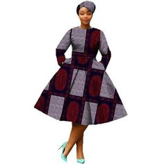 African Dress Women Full Sleeve Calf-Length Ball Grown Casual Dress with Scarf