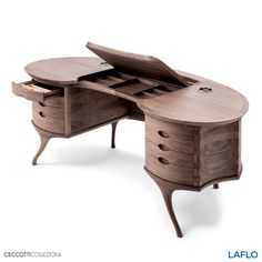 Big bean by Roberto Lazzeroni, a magnificent table made of solid American walnut and shaped after a big bean.