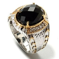 Mens en Vogue II 12.65ctw Oval Black Spinel & White Topaz Ring