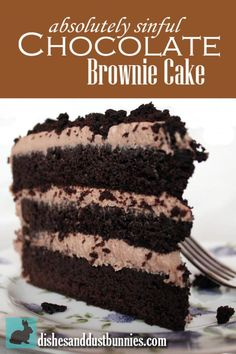Absolutely Sinful Chocolate Brownie Cake. Umm yum! I want to try this! #brownie #cake #chocolate