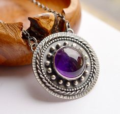 Silver Amethyst Necklace by EONDesignJewelry