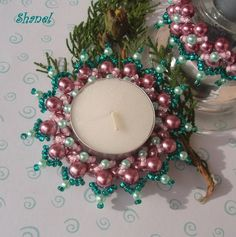 Prstýnek na čajovou svíčku - starorůžový