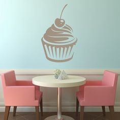 Cherry Cupcake Food Wall Art Sticker Wall Decal - Cup Cakes - Kitchen - Home & Living Food Stickers, Kitchen Wall Stickers, Sticker Art, Cherry Cupcakes, Wall Murals, Wall Art, Portrait Wall, Plant Wall, Stores