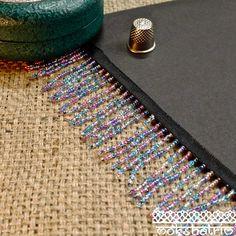 Blue Pink Beaded Fringe MA533 | Mokshatrim | Exotic trims lace and haberdashery Cerise Pink, Beaded Trim, Semi Transparent, Fringe Trim, Haberdashery, Black Satin, Seed Beads, Turquoise, Ribbon