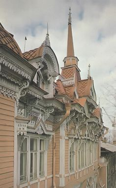A detail of the old wooden house in Tomsk