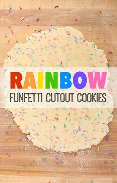 Bright and pretty rainbow funfetti cutout cookie recipe via Sweetsugarbelle.com