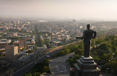 Yerevan, Armenia: The giant statue of Mother Armenia, sword in hand, looks out over Yerevan and towards Turkey.