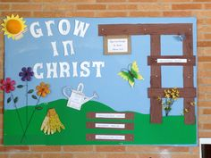 Overlook church of Christ. Grow in Christ bulletin board