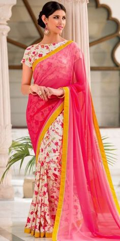 Adorning Pink And Off-White Georgette Printed Saree.