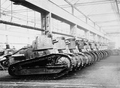 New artillery tanks Renault FT BS off the Assembly line. 1918-th year.