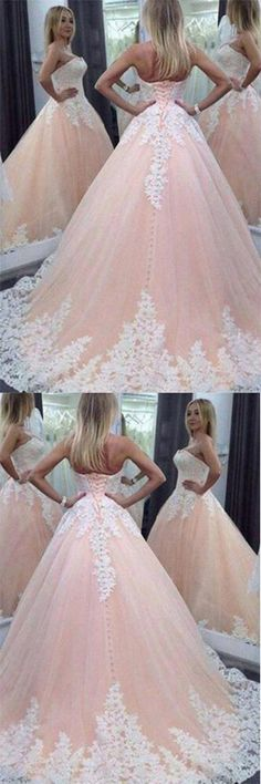 Stunning Sweetheart Floor-Length Appliques Lace up Strapless #BallGownweddingdress,#TulleWeddingDress