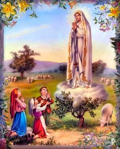 Our Lady of Fatima Catholic Religious Art Print Picture from Italy - Jezus chrystus - Populer Tattoo Pin Share Catholic Pictures, Pictures Of Jesus Christ, Place Saint Pierre, Creation Image, La Salette, Lady Of Fatima, Holy Rosary, Rosary Catholic, Madonna And Child