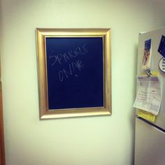 Chalkboard in a gold spray painted frame