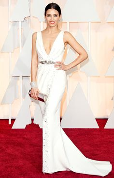 Jenna Dewan in a white Zuhair Murad gown with Stuart Weitzman heels at the 2015 Academy Awards on Sunday, Feb. 22, in Hollywood.