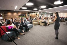 #boldthinker in the front row connecting with @WendyWallbridge.  @Kanesha Baynard at the Elevating Women's Voices. A festive evening of conversation and connections hosted at LinkedIn. A panel of accomplished women leaders from Intuit, Symantec, and LinkedIn discussed what's personally worked to navigate their individual paths to success, as well as share organizational best practices to support and elevate women's leadership. PAUL FERRADAS Photography @welofsv