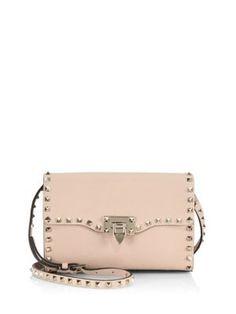 VALENTINO Rockstud Medium Leather Crossbody Bag. #valentino #bags #shoulder bags #leather #crossbody #lining #