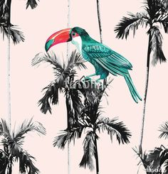 Wektor: palm trees and toucan seamless background