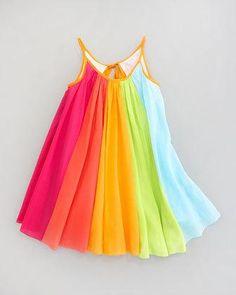 Rainbow Print Dress for Little Girls!