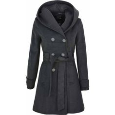 Womens Double Breasted Long hooded Coat Wool Touch Fit Ladies Winter... (96 AUD) ❤ liked on Polyvore featuring outerwear, coats, lined coat, long hooded coat, double-breasted coat, woolen coat and double breasted long coat