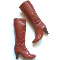 """HP  Vintage Cognac Boots HP - """"Clasic & Cool Party"""" by @ triplyksis on 11/3. Vintage boots in a beautiful cognac finish that hits right below the knee. I've been saving these, hoping they would fit, but to no avail. They have been reconditioned, refinished complete with new heel tips [GP Italia]. Normal wear, some scratching to boots, heels [adds character]. Excellent condition. Size 8M with sole width of 3.2 / Heel 3"""" / Ankle width 6"""" / Calf 7"""" with slight room, elastic stretch . Made in…"""