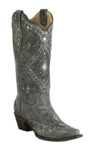 Corral Women's Vintage Charcoal with Silver Sequin Inlay Snip Toe Western Boots…
